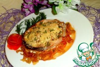 Рецепт: Фаршированные рыбные кольца на овощной подушке