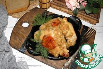 Рецепт: Жареная курица с луком на бульоне