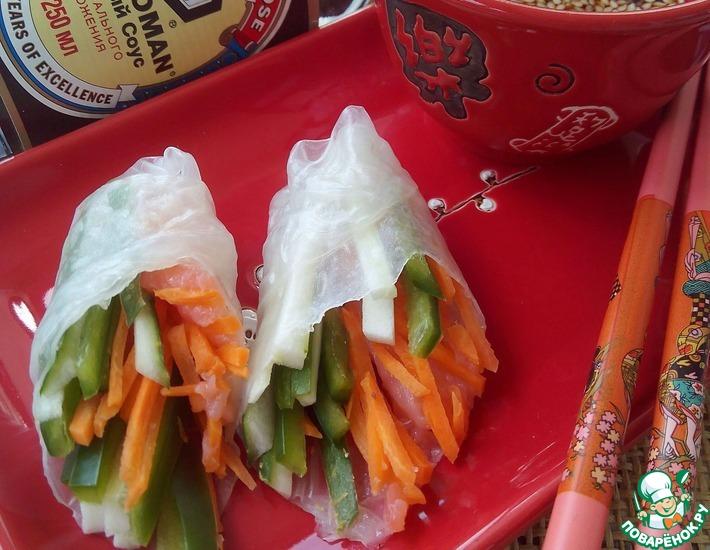 Рецепт: Спринг-роллы с овощами и рыбой