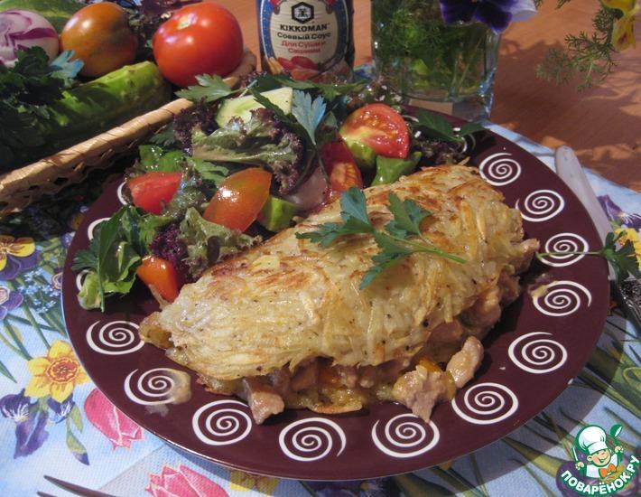 Рецепт: Картофельная лепешка с начинкой