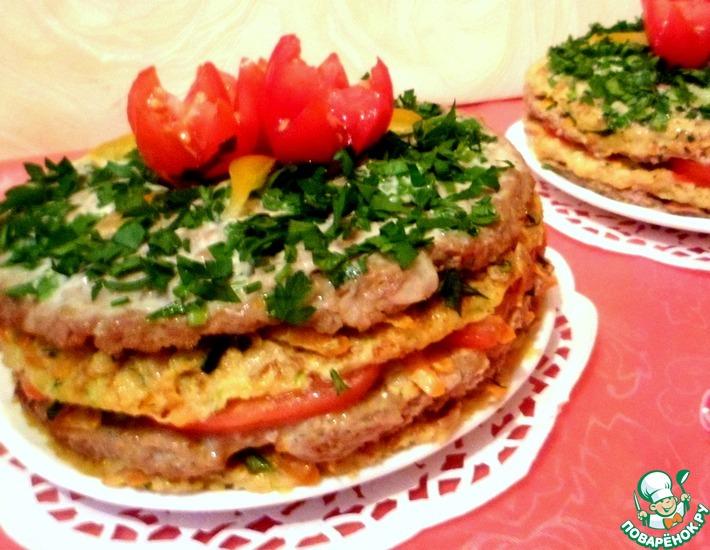 Рецепт: Кабачково-мясные закусочные торты