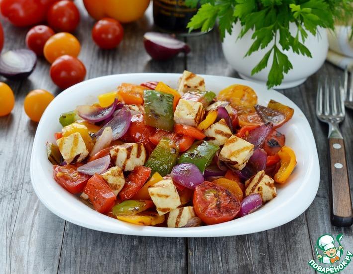 Рецепт: Теплый салат с жареным сыром