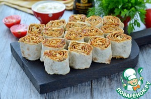 Baked lavash rolls with eggplant