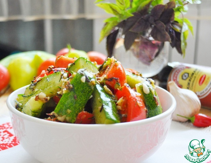 Рецепт: Закуска из маринованных помидоров и огурцов
