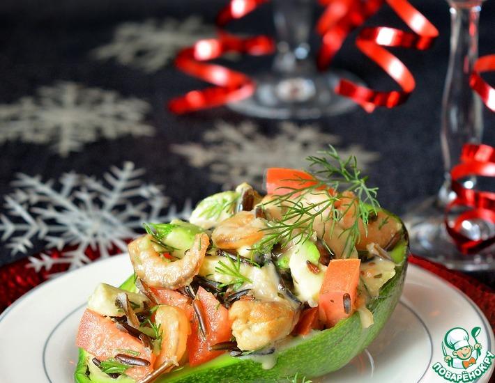 Рецепт: Салат с рисом, авокадо и морепродуктами