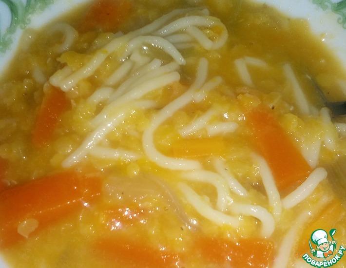 Рецепт: Овощной суп с пастой и чечевицей