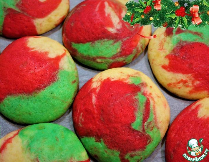 Рецепт: Новогоднее цветное печенье