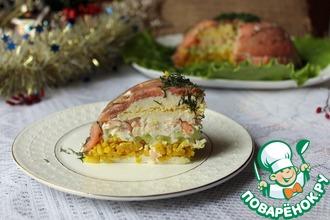 Рецепт: Салат-торт из риса и рыбы