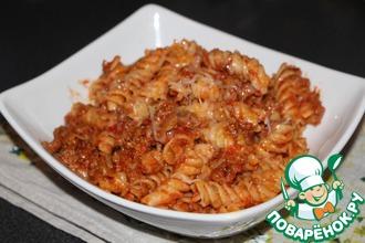 Рецепт: Макароны с фаршем в томатном соусе