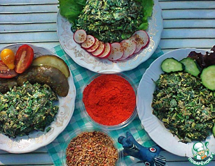 Рецепт: Оладьи из щавеля Зеленые ладошки