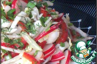 Рецепт: Салат из капусты с редисом