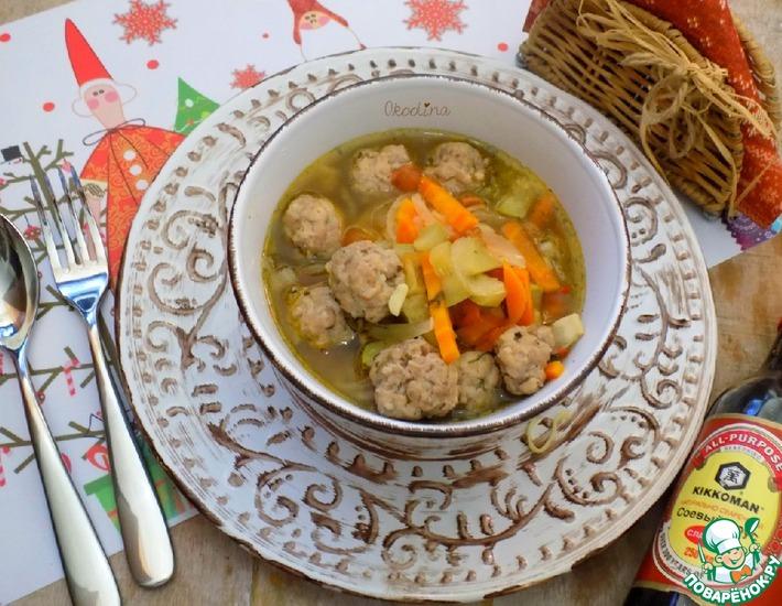 Рецепт: Овощной суп с фрикадельками и лапшой