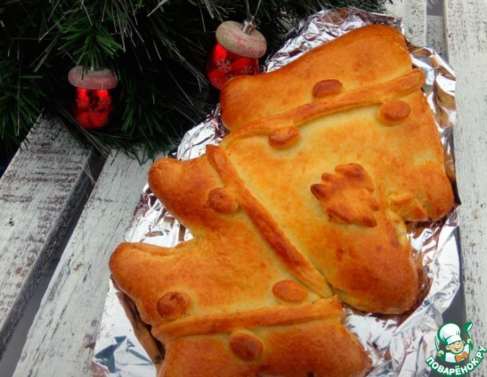 Рецепт: Праздничный пирог Елочка