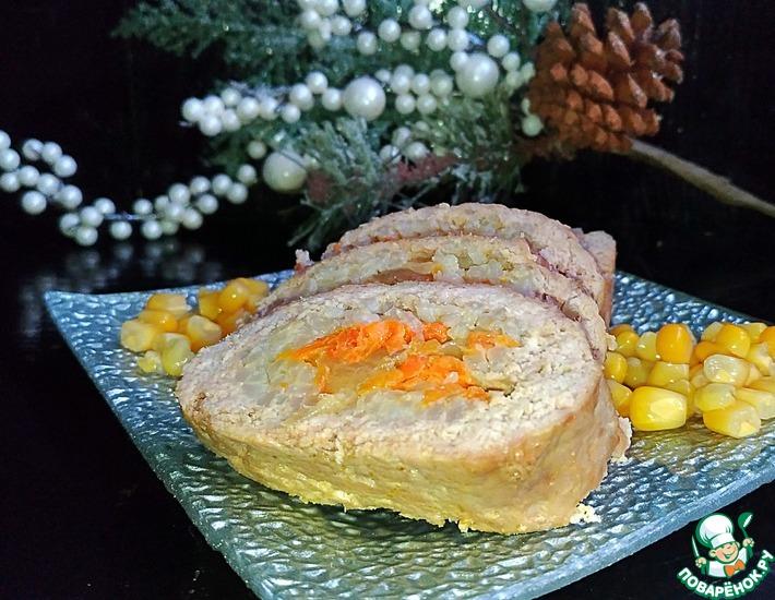Рецепт: Мясной рулет из фарша Праздничный