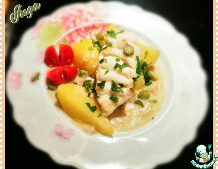 Рецепт: Рыба в сметанно-огуречном соусе