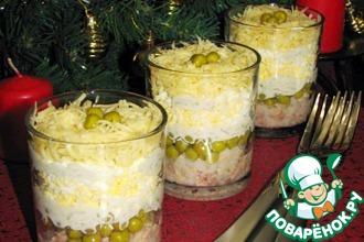 Рецепт: Салат из печени трески с рисом