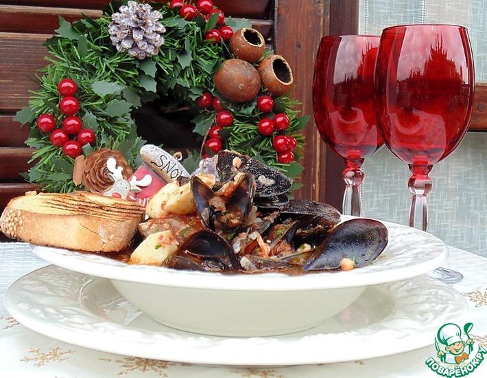 Рецепт: Итальянская рыбная похлебка Каччукко с кускусом