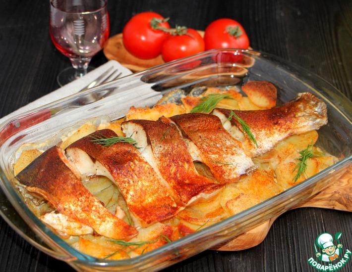 Рецепт: Рыба с картофелем под масляной корочкой