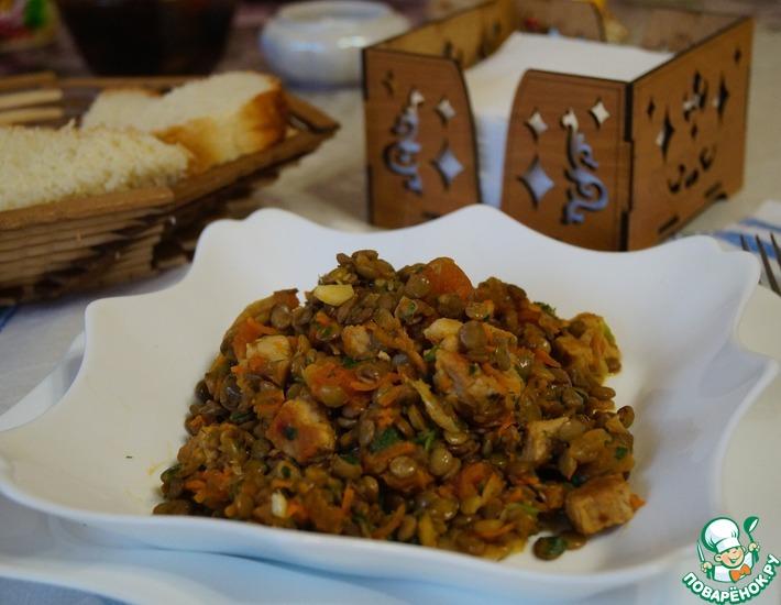 Рецепт: Чечевица с мясом и овощами