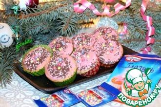 Рецепт: Новогодние маффины с сахарной глазурью