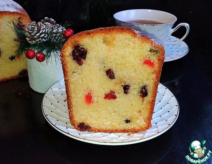 Рецепт: Кекс с клюквой и цукатами Новогодний