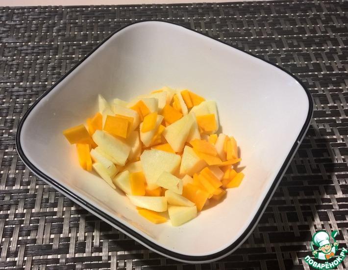 Рецепт: Салат из сырой тыквы с яблоком