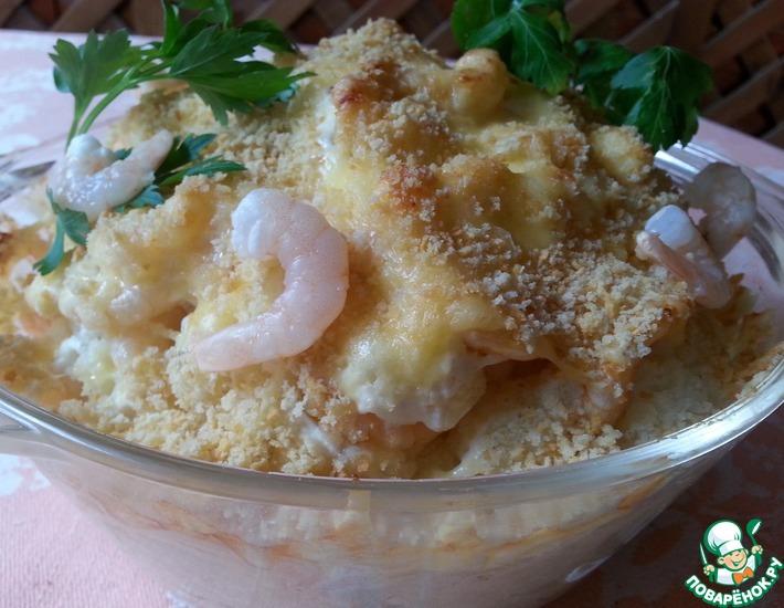 Рецепт: Цветная капуста с креветками