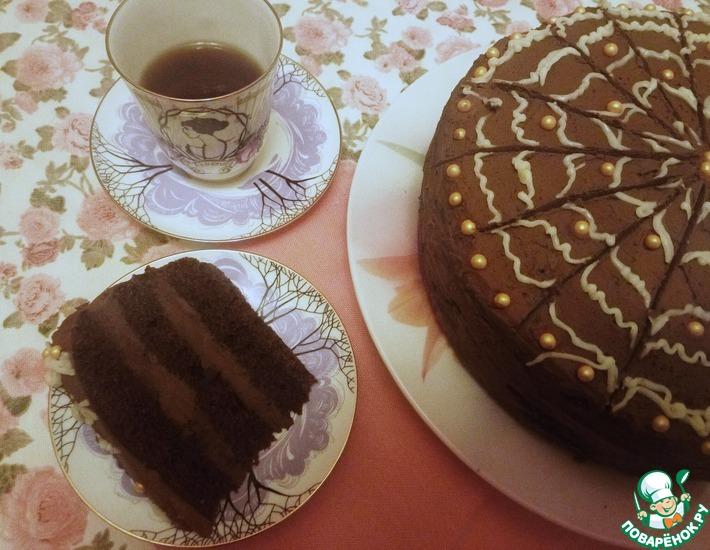 Рецепт: Постный торт Шоколадный крем-мусс