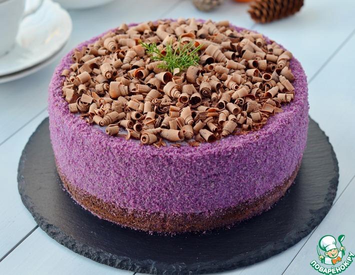Рецепт: Черничный муссовый торт на брауни