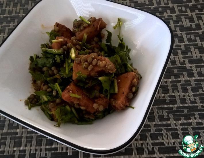 Рецепт: Ароматный тыквенный салат с одуванчиком