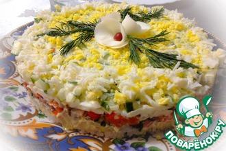 Рецепт: Салат с рисом и красной рыбой