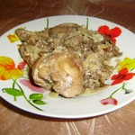 Ножки кролика с грибами и гречкой – кулинарный рецепт