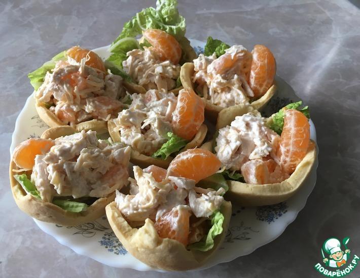 Рецепт: Тарталетки с салатом «Мандариновый рай»