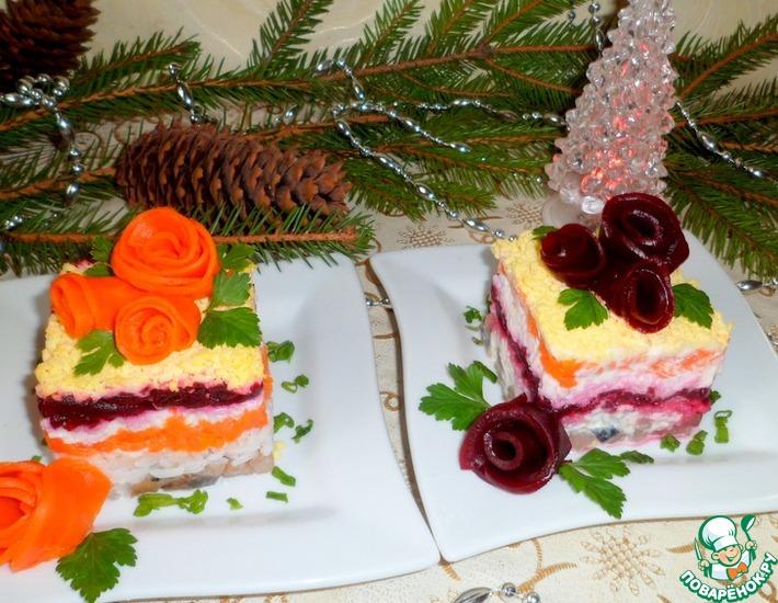 Рецепт: Пирожные Селедка под шубой