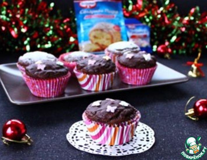 Рецепт: Шоколадные кексы с начинкой