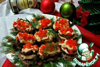 Рецепт: Новогодняя закуска Язык под шубой