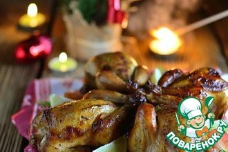 Рецепт: Порционные цыплята-корнишоны, запеченные в духовке