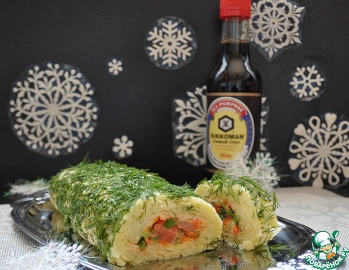 Рецепт: Салат-рулет Маленькая Япония