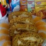 Постный рулет с кремом Новогодний мандарин