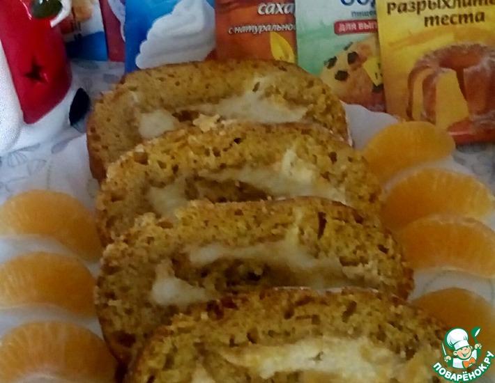 Рецепт: Постный рулет с кремом Новогодний мандарин