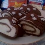 Рулет-пирожное без выпечки Новогоднее