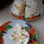 Заливной сметанный торт с фруктами