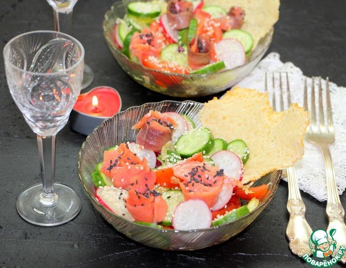Рецепт: Овощной салат с форелью Романтический ужин