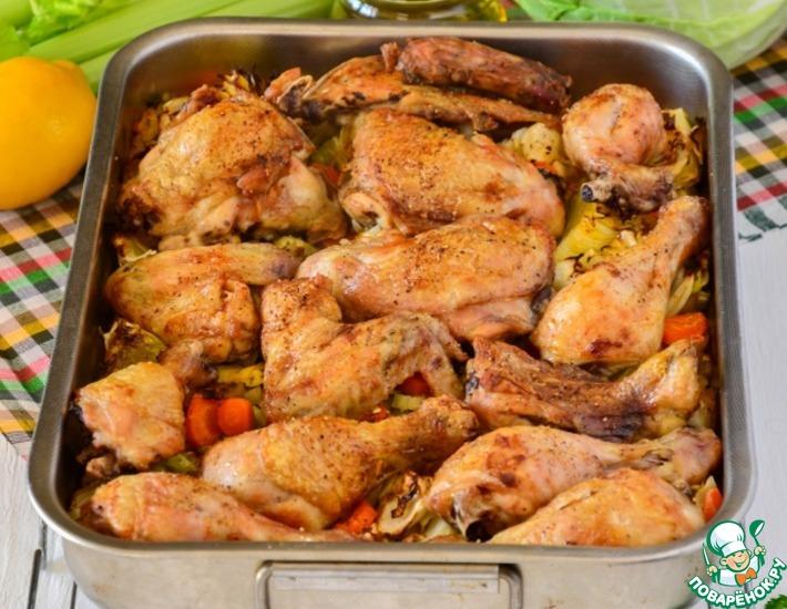 Рецепт: Курица, запеченная с овощами и рисом