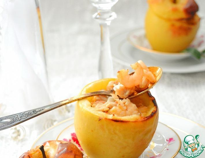 Рецепт: Яблоки, фаршированные курицей и креветками