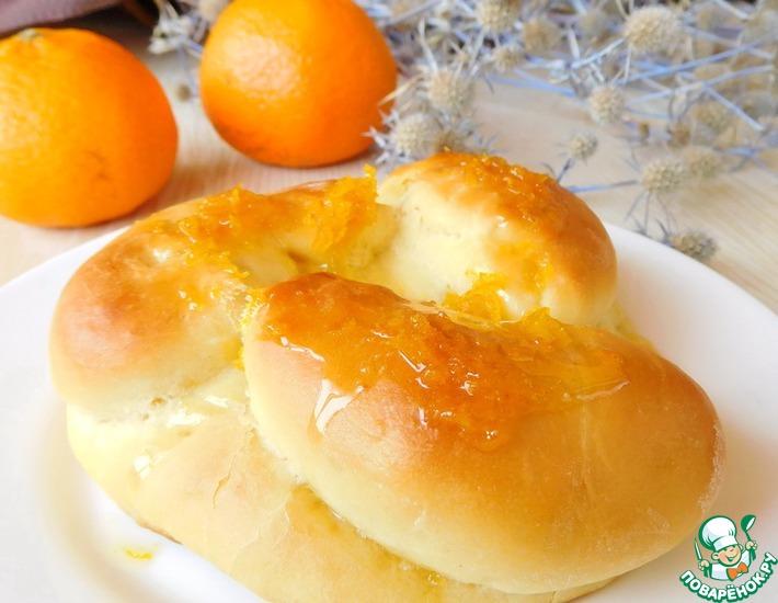 Рецепт: Апельсиновые булочки с мандаринами