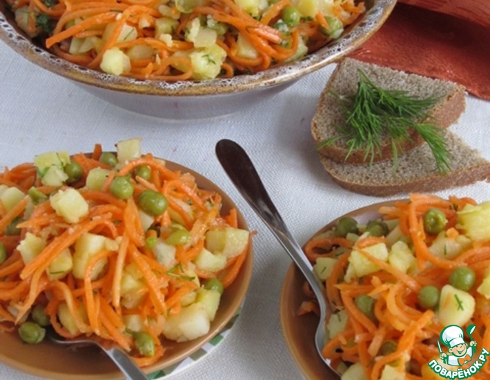Рецепт: Картофельный салат с корейской морковью