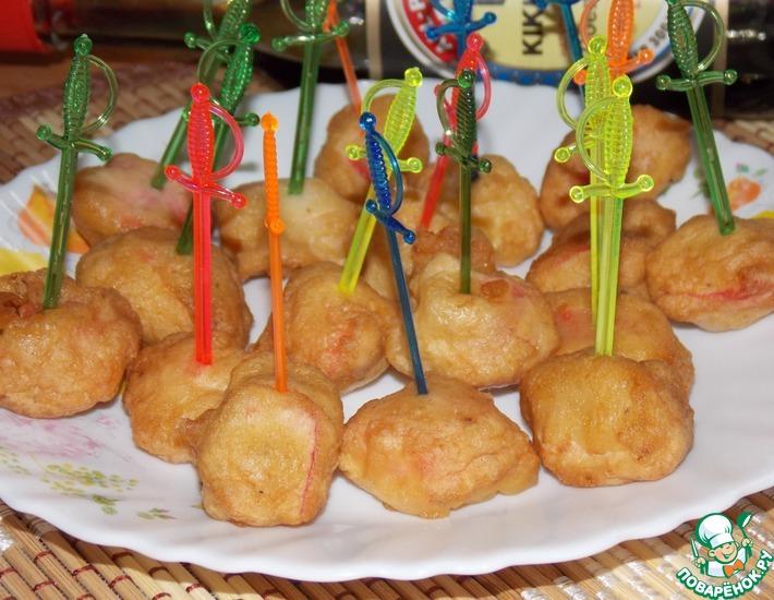 Рецепт: Закуска из крабовых палочек в кляре