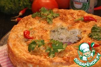Рецепт: Пирог с курицей, грибами и фетой