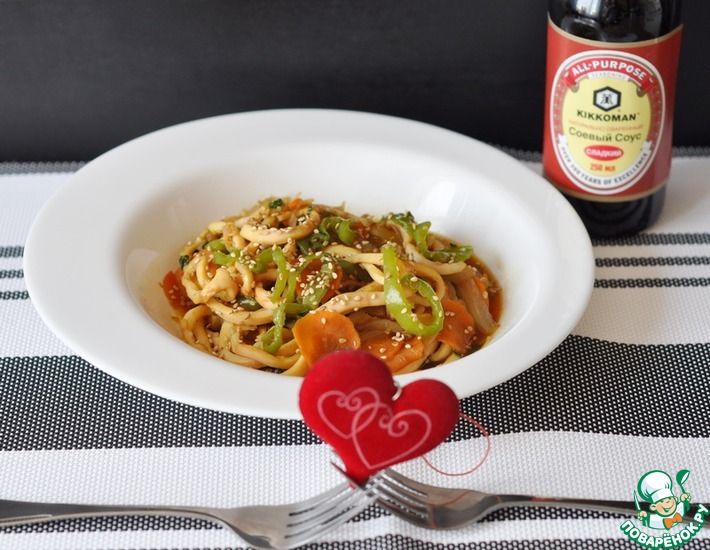 Рецепт: Кальмары, жаренные с острым зеленым перцем